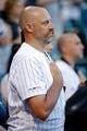 Jul 3, 2019; Chicago, IL, USA; Chicago Bears head coach Matt Nagy during the national anthem before the game between the Chicago White Sox and the Detroit Tigers in game two of a baseball doubleheader at Guaranteed Rate Field. Mandatory Credit: Jon Durr-USA TODAY Sports