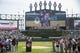 Aug 11, 2019; Chicago, IL, USA; Former Chicago White Sox player Harold Baines is honored during a ceremony reflecting his Hall of Fame induction prior to a game between the Chicago White Sox and the Oakland Athletics at Guaranteed Rate Field. Mandatory Credit: Patrick Gorski-USA TODAY Sports