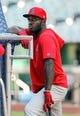 Aug 14, 2019; Kansas City, MO, USA; St. Louis Cardinals center fielder Randy Arozarena (66) before the game against the Kansas City Royals at Kauffman Stadium. Mandatory Credit: Jay Biggerstaff-USA TODAY Sports