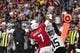 Aug 15, 2019; Glendale, AZ, USA; Oakland Raiders safety Curtis Riley (35) hits the arm of Arizona Cardinals quarterback Brett Hundley (7) in the first half during a preseason game at State Farm Stadium. Mandatory Credit: Matt Kartozian-USA TODAY Sports
