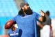 Aug 16, 2019; Charlotte, NC, USA; Buffalo Bills defensive tackle Star Lotulelei (98) warms up prior to the game against the Carolina Panthers at Bank of America Stadium. Mandatory Credit: Jeremy Brevard-USA TODAY Sports