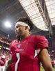 Aug 15, 2019; Glendale, AZ, USA; Arizona Cardinals quarterback Kyler Murray (1) against the Oakland Raiders during a preseason game at State Farm Stadium. Mandatory Credit: Mark J. Rebilas-USA TODAY Sports