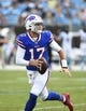 Aug 16, 2019; Charlotte, NC, USA; Buffalo Bills quarterback Josh Allen (17) looks to pass at Bank of America Stadium. Mandatory Credit: Bob Donnan-USA TODAY Sports