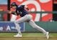 Aug 17, 2019; Washington, DC, USA; Milwaukee Brewers right fielder Christian Yelich (22) runs to second base against the Washington Nationals during the first inning at Nationals Park. Mandatory Credit: Brad Mills-USA TODAY Sports