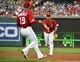 Aug 17, 2019; Washington, DC, USA; Washington Nationals first baseman Matt Adams (15) flips the ball to starting pitcher Anibal Sanchez (19) during the second inning against the Milwaukee Brewers at Nationals Park. Mandatory Credit: Brad Mills-USA TODAY Sports