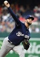 Aug 17, 2019; Washington, DC, USA; Milwaukee Brewers starting pitcher Jordan Lyles (23) throws to the Washington Nationals during the first inning at Nationals Park. Mandatory Credit: Brad Mills-USA TODAY Sports