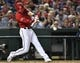 Aug 17, 2019; Washington, DC, USA; Washington Nationals shortstop Trea Turner (7) hits a single against the Milwaukee Brewers during the third inning at Nationals Park. Mandatory Credit: Brad Mills-USA TODAY Sports