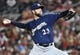 Aug 17, 2019; Washington, DC, USA; Milwaukee Brewers starting pitcher Jordan Lyles (23) throws against the Washington Nationals during the fourth inning at Nationals Park. Mandatory Credit: Brad Mills-USA TODAY Sports