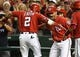 Aug 17, 2019; Washington, DC, USA; Washington Nationals right fielder Adam Eaton (2) is congratulated by center fielder Gerardo Parra (88) after hitting a three run home run against the Milwaukee Brewers during the fourth inning at Nationals Park. Mandatory Credit: Brad Mills-USA TODAY Sports