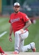 Aug 19, 2019; Pittsburgh, PA, USA;  Washington Nationals first baseman Matt Adams (15) stretches on the field before playing the Pittsburgh Pirates at PNC Park. Mandatory Credit: Charles LeClaire-USA TODAY Sports
