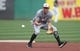 Aug 19, 2019; Pittsburgh, PA, USA;  Washington Nationals shortstop Trea Turner (7) takes infield practice before playing the Pittsburgh Pirates at PNC Park. Mandatory Credit: Charles LeClaire-USA TODAY Sports