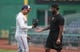 Aug 19, 2019; Pittsburgh, PA, USA;  Washington Nationals left fielder Juan Soto (22) and Pittsburgh Pirates relief pitcher Felipe Vazquez (73) greet each other before their game at PNC Park. Mandatory Credit: Charles LeClaire-USA TODAY Sports