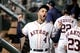 Aug 20, 2019; Houston, TX, USA; Houston Astros center fielder George Springer (4) reacts in the dugout prior to the game against the Detroit Tigers at Minute Maid Park. Mandatory Credit: Erik Williams-USA TODAY Sports