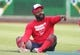 Aug 22, 2019; Pittsburgh, PA, USA;  Washington Nationals relief pitcher Fernando Rodney (56) gestures as he stretches before a game against the Pittsburgh Pirates at PNC Park. Mandatory Credit: Charles LeClaire-USA TODAY Sports