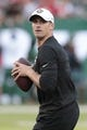 Aug 24, 2019; East Rutherford, NJ, USA; New Orleans Saints quarterback Drew Brees (9) warms up before his game  against the New York Jets at MetLife Stadium. Mandatory Credit: Vincent Carchietta-USA TODAY Sports