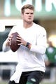 Aug 24, 2019; East Rutherford, NJ, USA; New York Jets quarterback Sam Darnold (14) warms up before his game against the New Orleans Saints at MetLife Stadium. Mandatory Credit: Vincent Carchietta-USA TODAY Sports