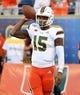 Aug 24, 2019; Orlando, FL, USA; Miami Hurricanes quarterback Jarren Williams (15) warms up prior to the game against the Florida Gators at Camping World Stadium. Mandatory Credit: Jasen Vinlove-USA TODAY Sports
