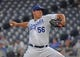 Aug 26, 2019; Kansas City, MO, USA; Kansas City Royals starting pitcher Brad Keller (56) delivers a pitch during the first inning against the Oakland Athletics at Kauffman Stadium. Mandatory Credit: Peter G. Aiken