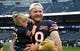 Aug 29, 2019; Chicago, IL, USA; Chicago Bears long snapper Patrick Scales (48) reacts with his daughter before the game against Tennessee Titans at Soldier Field. Mandatory Credit: Mike DiNovo-USA TODAY Sports
