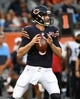 Aug 29, 2019; Chicago, IL, USA; Chicago Bears quarterback Tyler Bray (9) drops back to pass against the Tennessee Titans during the first half at Soldier Field. Mandatory Credit: Mike DiNovo-USA TODAY Sports