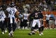 Aug 29, 2019; Chicago, IL, USA; Chicago Bears kicker Eddy Pineiro (15) reacts after making a field goal against the Tennessee Titans during the first half at Soldier Field. Mandatory Credit: Mike DiNovo-USA TODAY Sports