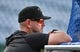 Aug 30, 2019; Kansas City, MO, USA; Baltimore Orioles manager Brandon Hyde (18) watches batting practice before the game against the Kansas City Royals at Kauffman Stadium. Mandatory Credit: Denny Medley-USA TODAY Sports