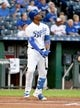 Aug 30, 2019; Kansas City, MO, USA; Kansas City Royals designated hitter Jorge Soler (12) connects for a solo home run in the first inning against the Baltimore Orioles at Kauffman Stadium. Mandatory Credit: Denny Medley-USA TODAY Sports