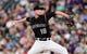Aug 31, 2019; Denver, CO, USA; Colorado Rockies relief pitcher Wes Parsons (18) delivers a pitch in the third inning against the Pittsburgh Pirates at Coors Field. Mandatory Credit: Ron Chenoy-USA TODAY Sports