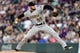 Aug 31, 2019; Denver, CO, USA; Pittsburgh Pirates starting pitcher Joe Musgrove (59) delivers a pitch in the third inning against the Colorado Rockies at Coors Field. Mandatory Credit: Ron Chenoy-USA TODAY Sports