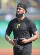 Aug 19, 2019; Pittsburgh, PA, USA;  Pittsburgh Pirates relief pitcher Felipe Vazquez (73) on the field before playing the Washington Nationals at PNC Park. Washington shutout the Pirates 13-0. Mandatory Credit: Charles LeClaire-USA TODAY Sports