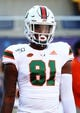 Aug 24, 2019; Orlando, FL, USA; Miami Hurricanes tight end Larry Hodges (81) works out prior to the game at Camping World Stadium. Mandatory Credit: Kim Klement-USA TODAY Sports