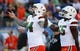 Aug 24, 2019; Orlando, FL, USA; Miami Hurricanes punter Lou Hedley (94), linebacker Shaquille Quarterman (55)  prior to the game at Camping World Stadium. Mandatory Credit: Kim Klement-USA TODAY Sports