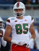 Aug 24, 2019; Orlando, FL, USA; Miami Hurricanes tight end Will Mallory (85) works out prior to the game at Camping World Stadium. Mandatory Credit: Kim Klement-USA TODAY Sports