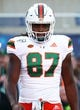 Aug 24, 2019; Orlando, FL, USA; Miami Hurricanes tight end Michael Irvin II (87) works out prior to the game at Camping World Stadium. Mandatory Credit: Kim Klement-USA TODAY Sports