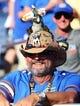 Aug 24, 2019; Orlando, FL, USA; Florida Gators fan cheers prior to the game at Camping World Stadium. Mandatory Credit: Kim Klement-USA TODAY Sports