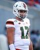 Aug 24, 2019; Orlando, FL, USA; Miami Hurricanes quarterback Peyton Matocha (17) works out prior to the game at Camping World Stadium. Mandatory Credit: Kim Klement-USA TODAY Sports