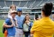 Sep 1, 2019; Kansas City, MO, USA; Kansas City Royals shortstop Alberto Mondesi (27) poses for a photo with fans on the warning track before a game against the Baltimore Orioles at Kauffman Stadium. Mandatory Credit: Denny Medley-USA TODAY Sports