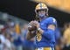 Sep 7, 2019; Pittsburgh, PA, USA; Pittsburgh Panthers quarterback Kenny Pickett (8) warms up prior to the game against the Ohio Bobcats at Heinz Field. Mandatory Credit: Charles LeClaire-USA TODAY Sports