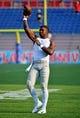 Sep 7, 2019; Boca Raton, FL, USA; UCF Knights quarterback Brandon Wimbush (3) warms up prior to the game against the Florida Atlantic Owls at FAU Football Stadium. Mandatory Credit: Jasen Vinlove-USA TODAY Sports