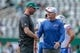 Sep 8, 2019; East Rutherford, NJ, USA; New York Jets head coach Adam Gase shakes hands with Buffalo Bills head coach Sean McDermott before their game at MetLife Stadium. Mandatory Credit: Vincent Carchietta-USA TODAY Sports