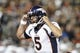 Sep 9, 2019; Oakland, CA, USA; Denver Broncos quarterback Joe Flacco (5) gestures in the second half against the Oakland Raiders at Oakland-Alameda County Coliseum. The Raiders defeated The Broncos 24-16.  Mandatory Credit: Kirby Lee-USA TODAY Sports
