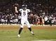 Sep 9, 2019; Oakland, CA, USA; Denver Broncos quarterback Joe Flacco (5) throws the ball against the Oakland Raiders during the third quarter at Oakland Coliseum. Mandatory Credit: Kelley L Cox-USA TODAY Sports