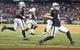 September 9, 2019; Oakland, CA, USA; Oakland Raiders quarterback Derek Carr (4) celebrates after a touchdown during the fourth quarter against the Denver Broncos at Oakland Coliseum. Mandatory Credit: Kyle Terada-USA TODAY Sports