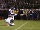 Sep 9, 2019; Oakland, CA, USA; Denver Broncos kicker Brandon McManus (8) scores a field goal against the Oakland Raiders during the third quarter at Oakland Coliseum. Mandatory Credit: Kelley L Cox-USA TODAY Sports