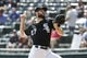 Sep 12, 2019; Chicago, IL, USA; Chicago White Sox starting pitcher Lucas Giolito (27) delivers against the Kansas City Royals during the first inning at Guaranteed Rate Field. Mandatory Credit: Kamil Krzaczynski-USA TODAY Sports