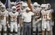 Sep 14, 2019; Houston, TX, USA; Texas Longhorns head coach Tom Herman and quarterback Sam Ehlinger (11) prepare to lead the team onto the field before a game against the Rice Owls at NRG Stadium. Mandatory Credit: Troy Taormina-USA TODAY Sports