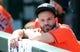 Sep 15, 2019; Kansas City, MO, USA; Houston Astros second baseman Jose Altuve (27) during the first inning against the Kansas City Royals at Kauffman Stadium. Mandatory Credit: Jay Biggerstaff-USA TODAY Sports