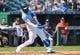 Sep 15, 2019; Kansas City, MO, USA; Kansas City Royals right fielder Jorge Soler (12) hits an RBI triple against the Houston Astros during the first inning at Kauffman Stadium. Mandatory Credit: Jay Biggerstaff-USA TODAY Sports