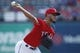 Sep 15, 2019; Arlington, TX, USA; Texas Rangers starting pitcher Jonathan Hernandez (72) throws a pitch in the first inning against the Oakland Athletics at Globe Life Park in Arlington. Mandatory Credit: Tim Heitman-USA TODAY Sports