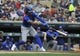 Sep 22, 2019; Minneapolis, MN, USA;  Kansas City Royals shortstop Adalberto Mondesi (27) singles during the first inning against the Minnesota Twins at Target Field. Mandatory Credit: Marilyn Indahl-USA TODAY Sports